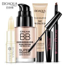 Wholesale Christmas Mascara - 5Pcs BIOAQUA Beauty Cosmetics Makeup Collection Kit Set Lip Balm BB Cream Eyebrow Pencil Mascara Cream Isolation Makeup Base 5pcs