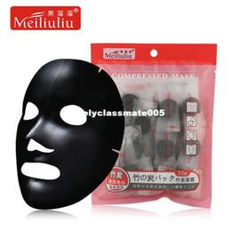 Tessuto di bambù del carbone di legna online-maschera facciale di carta di bambù naturale fibra di carbonio maschera facciale foglio di tessuto non tessuto pieghevole diy compressa compressa nera masque