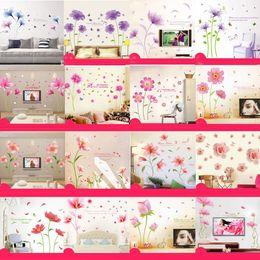 Wholesale Mix Order Kids Wall Stickers - Mix Order Wholesale Removable PVC Wall Stickers Pink Flower Home Decals Kids Room Wallpaper Nursery Wall Decor Wall Art Sticker