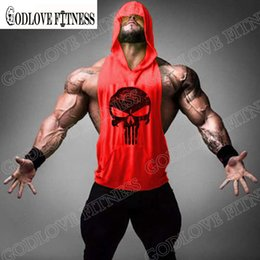 Wholesale Wholesale Mens Casual Clothing - Wholesale- New Skull Print Mens Fitness Hoody T Shirt Brand Bodybuilding Workout Clothes Terry Cotton Fashion Cool Tshirt Men High Quality