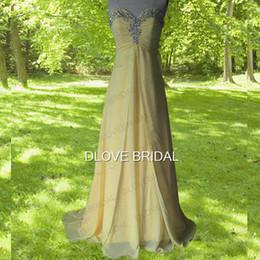 Vestido de dama de honor de gasa amarillo de alta calidad sin tirantes del amor del imperio partido formal del banquete de boda invitado de dama de honor vestidos con cristal desde fabricantes