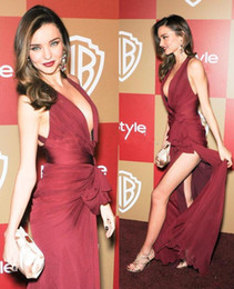 Wholesale miranda kerr - Deep V Neck Red Carpet Prom Dresses Sexy Split evening dresses miranda kerr golden globes Wine Red long party gowns High Slit Chiffon