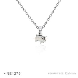 Wholesale Hippo Charms - Antique Silver Plated Wild Boar Pig Hippo Animal Charm pendants Chain Birthday Best Gifts For Women Platinum Metal Necklaces