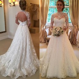 Wholesale Collared Long Sleeved Wedding Dresses - Sexy Wedding Dresses Cheap 2017 Romantic Beach A-line Wedding Dress Illusion High Neck Long Sleeved Full Lace Open Back Bridal Gowns