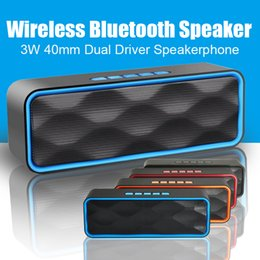 Wholesale Usb Speaker Drivers - Hands-free calls Portable Music Speakers 3W 40mm Dual Driver Speakerphone Cool Bluetooth Speakers For iPhone Mobile Phones