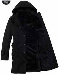 Wholesale Mens Wool Pea Coat Slim - New Fashion Mens Winter Warm Faux Fur Lined Belted Hooded Long Pea Coat