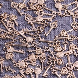 Wholesale Kc Gold Plating - Sweet Bell 60pcs Mixed mini Key charms KC gold Metal Zinc Alloy Trendy Mixed keys Pendant Charms Making H3009