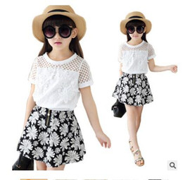 Wholesale Girls Lace Flower Clothing Set - Girls Clothing Sets Summer Lace Fashion Baby Clothes For Girls T-Shirt + Skirts 2Pcs Kids Flower Skirt Best Gifts DHL Free Shipping