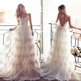 Discount vestidos wedding dress lace - Lace Backless Wedding Dresses Boho Modest Spaghetti Straps Sweep Train Illusion A-Line Bridal Gowns vestidos de novia Sleeveless 2016