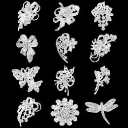 Wholesale Wholesale Small Brooches - 30% Off Silver Tone Small Gold Brooches Clear Rhinestone Flower Pin Wholesales Jewelry Wedding Bridal accessories Mix 12 desgins DHL free