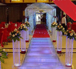Wholesale Led Acrylic Stands - Free shipping Wedding Crystal Pillar With Beautiful Acrylic Bead Wedding Road Lead Stand With LED Light LLFA