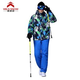 Wholesale snowboard jackets brands - Ski Wear Snowproof And Waterproof Windproof Ski Jacket men Winter Snowboard suit WILD SNOW Brand 101