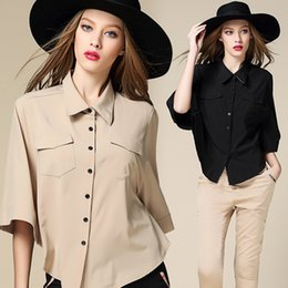 Wholesale Plaid Blouse Batwing - Brabd new 2017 women Blouse Shirt batwing  dolman sleeve European style women' s clothing Casual Tops plus size black ,khaki and white shirt