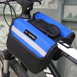 Wholesale Bike Bicycle Cycling Front Bag - Durable Waterproof Cycling Bike Bicycle Front Frame Bag Tube Pannier Double Pouch Pocket Outdoor with Reflective Strips Tape