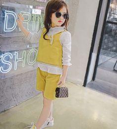 Wholesale Korean Kids Shirt Wholesale - Children Set Kids Fashion Casual Outfits 2017 Korean Girl Long Sleeve T Shirt+Short Pants Girls Clothing 2 Colors Yellow Blue B4633