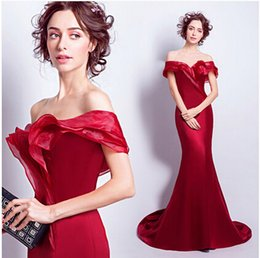 Wholesale Thin Simple Wedding Dresses - Wine red Bateau bride wedding toast Fish tail wedding dress Annual dinner party cascading ruffles dress Show thin lace up clothing