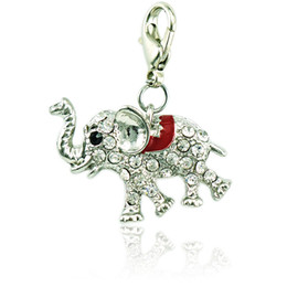 Wholesale Diy Pendant Silver Clasps - Brand New Fashion Charms With Lobster Clasp Five Color Rhinestone Enamel Elephant Pendants Animal DIY Jewelry Accessories