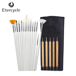 Wholesale Professional Nail Art Dotting Tool - Wholesale- Professional 20 pcs Nail Art Design Painting Detailing Brushes & Dotting Pen   Tool Kit Set
