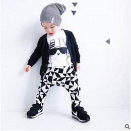 Wholesale Kids Shirts Glasses - spring baby girl boy's Glasses rabbit printing t-shirt+pants two-piece suit kids Children's cotton clothing sets baby boy's blouse