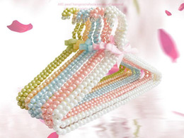 Wholesale Dog Clothes Rack - Colorful Pearl Clothes Rack Teddy Dog Clothes Hangers 20cm 40 cm Bowknot Pearl Hangers for Baby Infant  Adult Fashion Pearl Hanger
