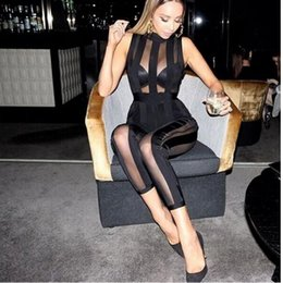 Wholesale sexy leotards for women - Wholesale- Black Bandage Jumpsuit For Women Jumpers And Rompers Sexy Club Wear Perspective Striped Bodycon Mesh Leotard Summer 2017