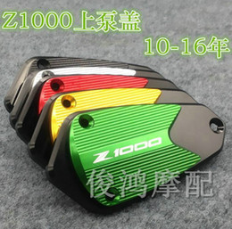 Wholesale Brake Reservoir Tanks - Free shipping Motorcycle CNC aluminum alloy Front brake Fluid Reservoir tank Cap Cover For Kawasaki Z1000 2010 2011 2012-2015