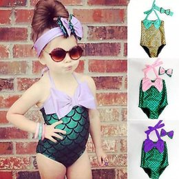 Wholesale Baby Yellow Swimsuits - Mermaid Swimsuit Mermaid Tail Bikini Set Kids Costume Bodysuit Baby Swimwear Girls Swimmable Bathing Suit Monokini Bowknot Beachwear B2070
