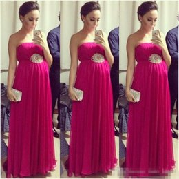Wholesale Pregnant Evening Wear - Hot Sale Fuchsia Empire Pregnant Prom Dresses 2017 Strapless Sleeveless Pleated Maternity Women Evening Formal Dress Red Carpet Celebrity