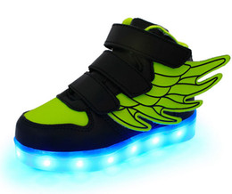 Wholesale Wholesalers For Childrens Shoes - Unisex Wings Led kids shoes light Flashing Shoes with USB Charge Fluorescent Couple Running Snakers Sport Casual Shoes for Childrens