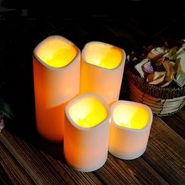 Wholesale Led Yard Lights Christmas - LED Table Light Cylindrical Flickering LED Candle Light Flameless for Garden Yard   Christmas Lamp table lamp Decoration