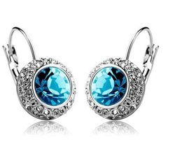 Canada Prix de gros 18k or blanc plaqué Swarovski cristal rond femmes boucles d'oreilles strass boucles d'oreilles prix usine 10 couleurs Offre