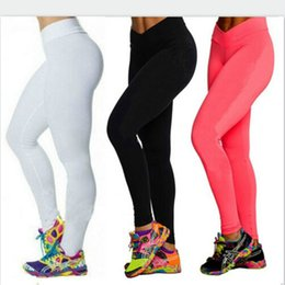 Wholesale Candy Colours - High Waist Candy Colours Solid Leggings Women's Sports Pants Fashion Elastic Strtched Yogo Fitness Gym Leggings