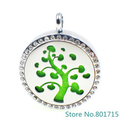 "Wholesale White Felt Circles - XX027 magnetic stainless steel ""Tree ""essential oil diffusing necklace aromatherapy locket (Felt Pads & Chain freely)"