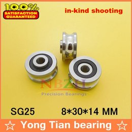 Wholesale Ball Bearing Abec - Wholesale- SG25 2RS U Groove pulley ball bearings 8*30*14 mm Track guide roller bearing SG8RS (Precision double row balls) ABEC-5