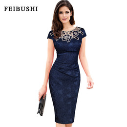 Wholesale Womens Work Out Shorts - FEIBUSHI 2017 New Fashion Womens embroidery Elegant Vintage Dobby fabric Hollow out embroidered Ruched Pencil Bodycon Evening Party Dress