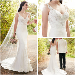 Wholesale Tulle Corded Lace - 2017 New Country Bridal Gowns Corded Appliques Mermaid Wedding Dresses See Through Lace Sweetheart Bridal Dresses Court Train