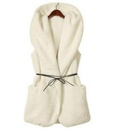 Mujeres de moda de gran tamaño de imitación de piel de cordero Chaqueta larga de lana con capucha chaleco con cinturón de las señoras Streetweat niñas abrigo de invierno ropa desde fabricantes