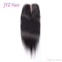 18 polegadas de cabelo malaysian on-line-Em linha Reta Natural Preto Virgem Do Cabelo Humano Fechamento Fechamento Do Laço 4x4 Fechamento Rendas Indiano Peruano Malaio 8-20 Polegada Lace Closures