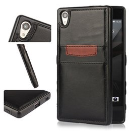 Wholesale Xperia Protective Cover - Xperia Z5 Premiu Phone Cover PU Leather Bag Flip Cover with Card for iphone 6 6s plus Slot Kickstand Samsung S7 6 Protective Shell OPP Bag