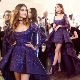 Wholesale Zuhair Murad Cocktail - Stunning Zuhair Murad Evening Dresses 2017 High Low Long Sleeve Prom Cocktail Dress Sparkly Beads Detail Arabic Occasion Party Gowns
