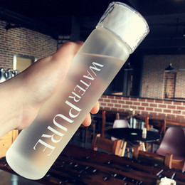 Wholesale Korea Cup - Creative Korea Water Bottle Lovely Portable Student Transparent Cover Tea Cup with Frosted Glass Cup Crystal Water Cup