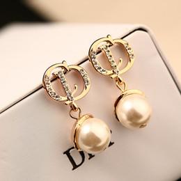 Wholesale Elegant Pearl Drop Earrings - Elegant Fashion Pearl Dangle Earrings for Women 18k Gold Plated Letter with Zircon Drop Earrings Brand Fine Jewelry