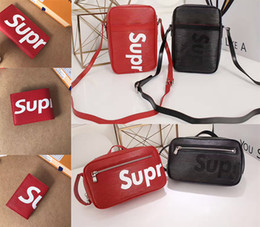 Wholesale Real Leather Mens Bag - Brand Supreme Womens Single shoulder bag Real Leather For Mens wallet Card package Supremes Women handbag Red Black messenger Bag Boy Girls