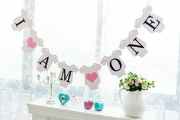 Wholesale Banner Settings - Wholesale- Free Shipping 1 Set I AM ONE Banner Baby Boy  Girl 1st Birthday Sign Baby Shower Photo Props Party Decoration