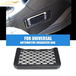 Wholesale Automotive Organizers - Wholesale- New Car Storage Net Automotive Pocket Organizer Bag For Mobile Phone Holder Auto Pouch Adhesive Visor Box Car Accessories 15*8cm