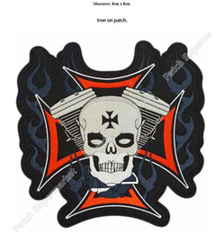 Wholesale Sew Skull Patches - SKULL ON IRON CROSS & PISTONS Embroidered Iron On Sew On Patch Rock Band COSTUME PATCH EMBLEM, Free shipping