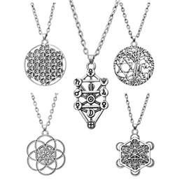 Wholesale Tibetan Silver Pentagrams - Wholesale-Tree Of Life Yggdrasil Flowers Pentacle Pentagram Pendant Wiccan Pagan Jewelry Tibetan Silver Manstar Star Of David Necklace