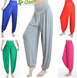 Wholesale Belly Dance Xxl - Modal High Waist Women's Sports Yoga Pants Wide Leg Loose Long Bloomers Trousers Belly Dancing Bloomers Pants Dance Club Pants