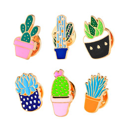 Wholesale Gold Denim Jacket - New Trendy Cartoon Plant Cactus Potted Brooch Pin Mini Flower Badge Brooches Pins For Women Denim Jacket Pin Shirt Badge Gift