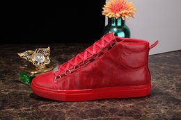 Wholesale Lace Up Leather High Tops - 2017 Men Classic Genuine Leather Arena Brand Flats Sneakers Male High Top Shoes Fashion Luxury Casual Lace Up Shoes Size 38-46